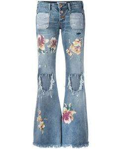One Teaspoon | Distressed Orchid Print Flared Jeans Size 25