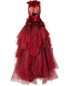 Marchesa | Flower Petal Embellished Dress 10 Silk/Nylon
