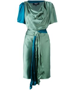 Paule Ka   Draped Satin Short Sleeve Dress