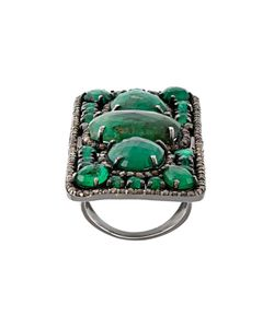 LOREE RODKIN | Rectangular Diamond And Emerald Ring