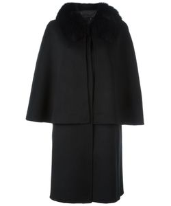 Liska | Fox Fur Collar Sleeveless Coat