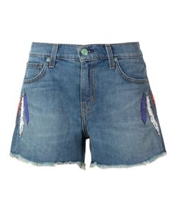 Sandrine Rose | Embroidered Feather Denim Shorts