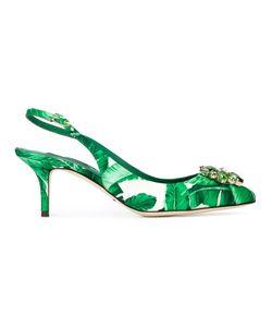 Dolce & Gabbana   Banana Leaf Print Slingback Pumps