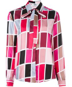 MSGM | Printed Neck Tie Blouse
