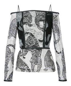 Yigal Azrouel | Блузка С Открытыми Плечами И Вышитыми Леопардами