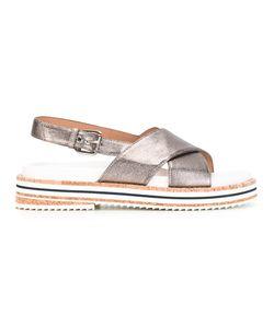 L' Autre Chose | Lautre Chose Crossed Sling-Back Sandals 37 Calf Leather/Canvas/Rubber