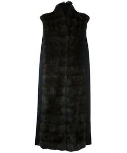 Manzoni 24   Длинное Меховое Пальто С Панельным Дизайном