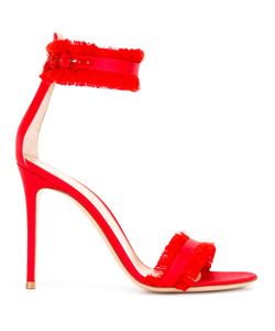 Gianvito Rossi | Frayed Trim Sandals 37.5 Goat Skin/Leather/Silk