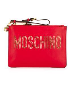 Moschino | Stud Embellished Logo Clutch