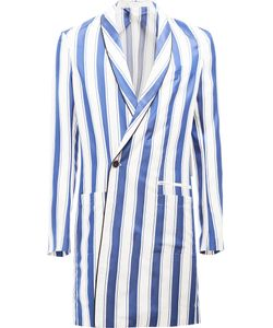 Haider Ackermann | Striped Double-Breasted Coat 48 Silk/Cotton/Acetate/Viscose
