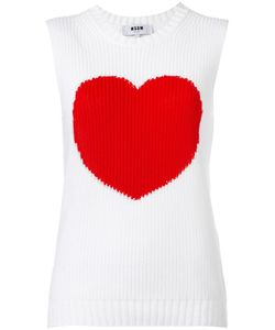 MSGM | Heart Motif Knitted Tank 40 Cotton