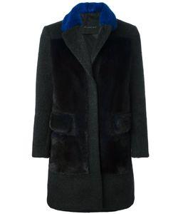 Blancha | Норковое Пальто С Контрастным Воротником