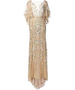 Marchesa | Вечернее Платье С Цветочной Вышивкой