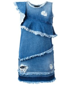 Marco Bologna | Asymmetric Raw Flounce Denim Dress