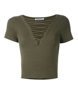 T By Alexander Wang | Lace-Up Ribbed Top