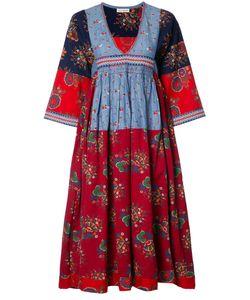 Ulla Johnson | V-Neck Embroide Midi Dress Size 6 Cotton/Linen/Flax
