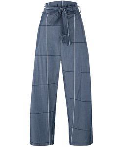 Erika Cavallini | Plaid Wide-Legged Cropped Trousers 40 Cotton