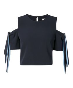 Milly   Tie-Sleeve Cropped Blouse 2