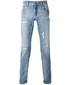 Dolce & Gabbana | Distressed Jeans 46 Cotton/Spandex/Elastane/Calf Leather/Zamac