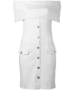 Pierre Balmain | Off-Shoulder Buttoned Dress 40 Viscose/Polyester/Spandex/Elastane