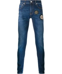 Alexander McQueen | Patch Embellished Skinny Jeans 44 Cotton/Spandex/Elastane/Copper