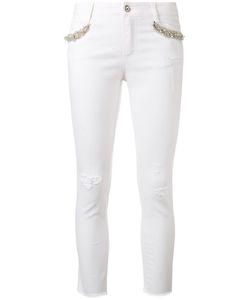 Ermanno Scervino | Embellished Skinny Jeans 44 Cotton/Spandex/Elastane/Glass/Polyester