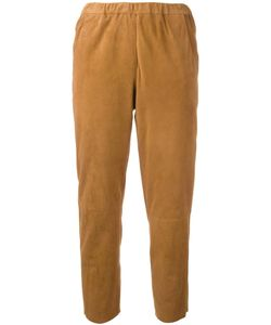 Drome | Elasticated Waistband Cropped Trousers Small Suede/Cupro