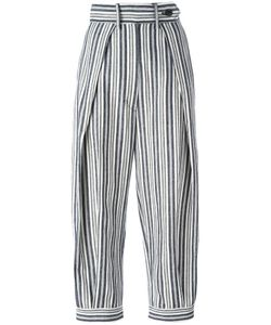 SportMax | High-Rise Cropped Striped Trousers 38 Cotton/Linen/Flax