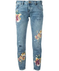 One Teaspoon   Orchid Print Distressed Cropped Jeans Size 28