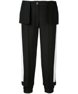 Vera Wang | Cropped Peplum Trousers 4 Nylon/Wool/Cotton/Silk
