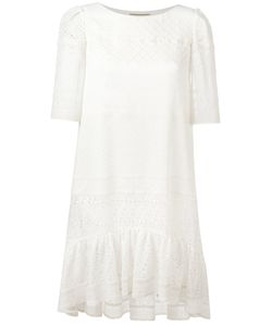 Saint Laurent | Broderie Anglaise Trim Dress 38 Silk/Viscose/Cotton