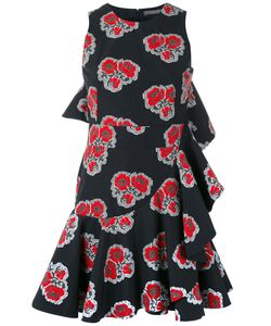 Alexander McQueen | Ruffled Poppy Print Dress 42 Cotton/Silk