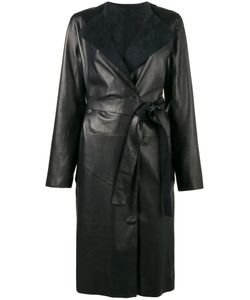 Yves Salomon | Contrast Collar Belted Coat Lamb
