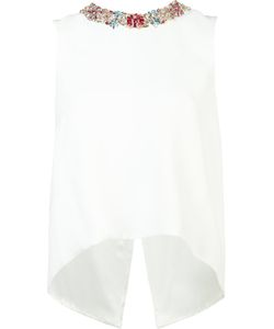 Monique Lhuillier | Embellished Collar Tank Top 6 Silk/Polyester