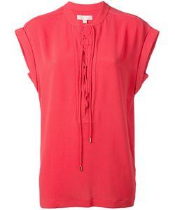 Michael Michael Kors   Lace-Up Neck T-Shirt Womens Size Large Polyester/Spandex/Elastane