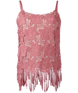 Alice + Olivia | Embroidered Fringed Hem Top Size 8