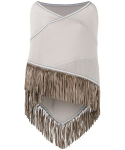ANTONIA ZANDER | Fringed Trim Cape Cashmere/Leather