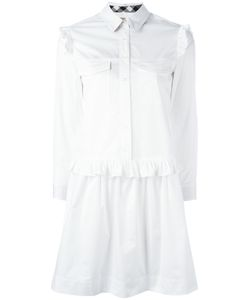 Burberry | Ruffled Trim Shirt Dress 8 Cotton/Spandex/Elastane