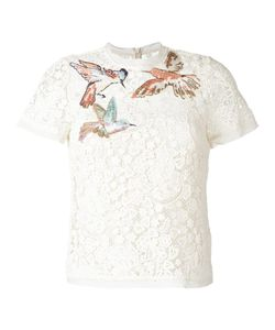 Red Valentino | Macramé T-Shirt 44 Cotton/Silk/Polyester