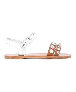 Miu Miu | Rhinestone Flat Sandals Size 39 Calf