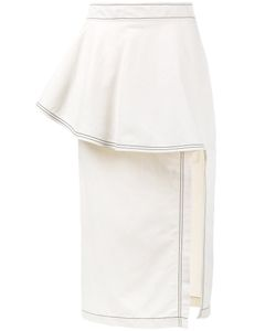 Stella Mccartney | Ruffle Straight Skirt 38 Cotton/Linen/Flax/Polyamide