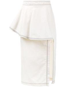Stella Mccartney | Ruffle Straight Skirt 38 Cotton/Linen/Flax/Polyamide
