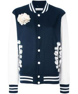Night Market | Flower Embellished Bomber Jacket Small Polyester/Cotton/Leather