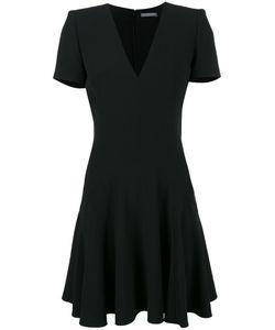 Alexander McQueen | Черное Платье С Короткими Рукавами И V-Образным Вырезом