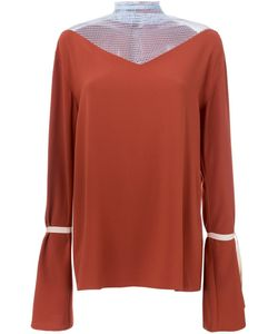 N Duo | Contrast Panel Flared Sleeve Blouse