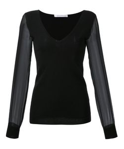 SALLY LAPOINTE | V-Neck Sheer Longsleeves Blouse