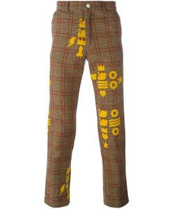 WALTER VAN BEIRENDONCK VINTAGE   Printed Checked Trousers