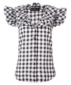 ROSSELLA JARDINI | Ruffled Checked Shirt 40 Cotton/Lyocell/Linen/Flax