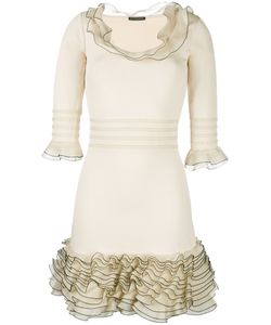 Alexander McQueen | Ruffled Knit Mini Dress Xs Viscose/Polyester/Silk