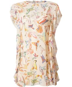 Red Valentino | Birds Print Shift Dress 38 Silk/Cotton